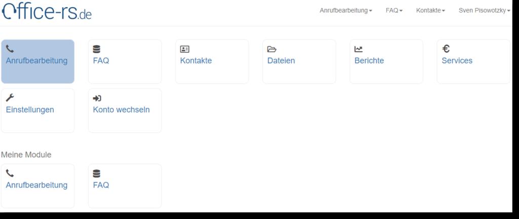 Auswahl der Telefonservice Anrufbearbeitung im kostenlosen Online Sekretariat.